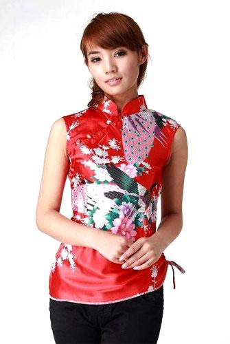 Official Website enjoy free shipping popular style Red Peacock Chinese Blouse :: Chinese Blouses