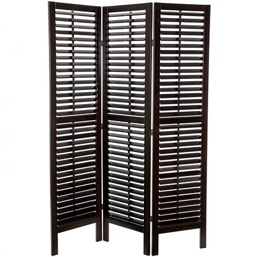 "Walnut 72"" Tall Double Shutter Screen :: Wooden Shutter Screens"