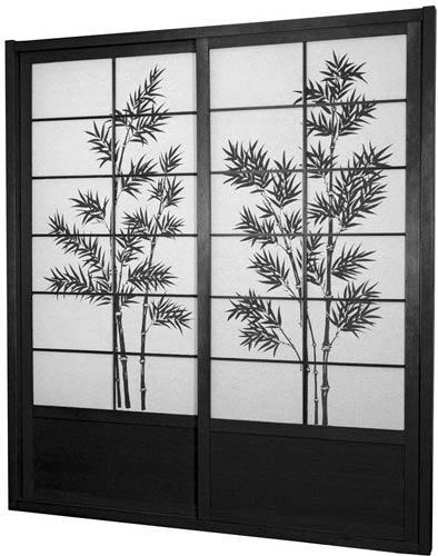 Elegant Tall Black Bamboo Tree Shoji Sliding Door Kit :: Shoji Sliding Doors