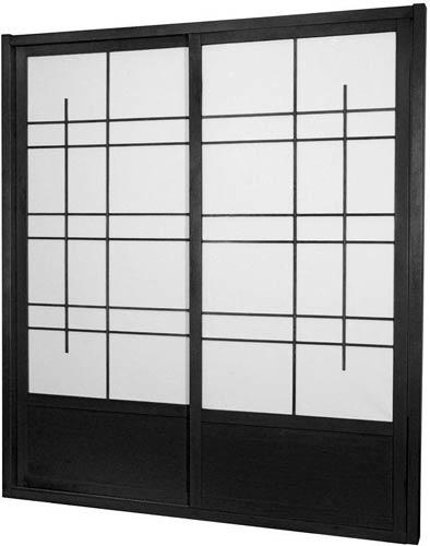 Tall Black Eudes Shoji Sliding Door Kit (Double Sided) :