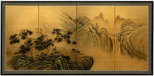 Chinese Silk Paintings :: Mountaintop Waterfall On Gold Leaf