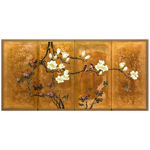 Love Birds on Traditional Gold Leaf :: Chinese Silk Paintings