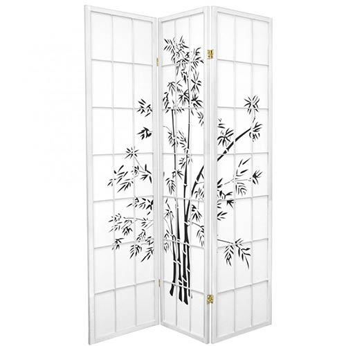 6 ft. Tall Lucky Bamboo Room Divider (White Finish) :: Japanese Shoji Screens