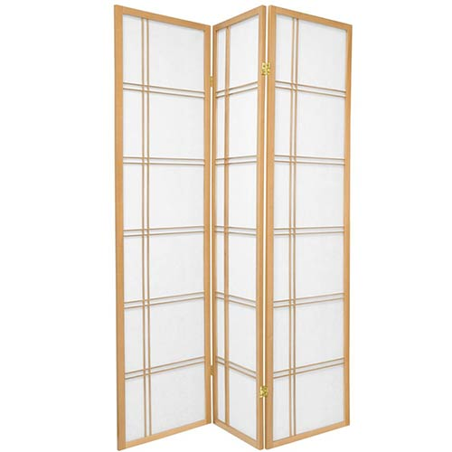 6 ft. Tall Double Cross Shoji Screen (Natural Finish) :: Japanese Shoji Screens