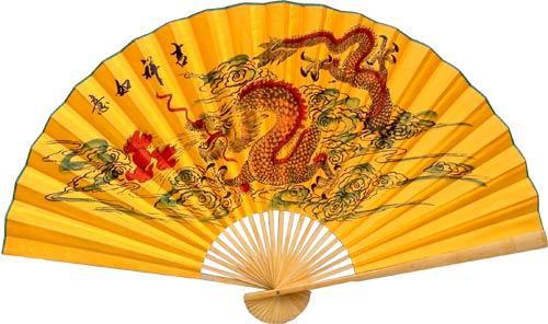 Asian Wall Fans :: Yellow Dragons