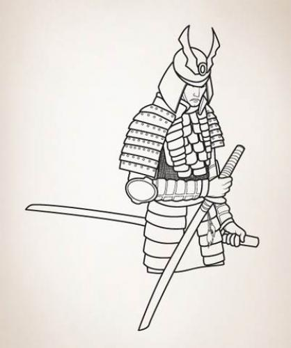 Stoic Samurai Wall Decal :: Asian Art Wall Stickers