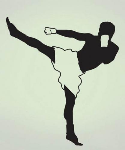 Kickboxer Wall Decal :: Asian Art Wall Stickers