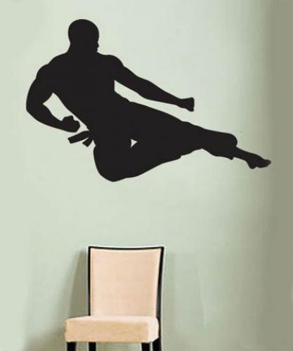 Flying Karate Wall Decal :: Asian Art Wall Stickers