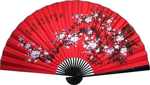 Prosperity Blossoms with Black Bamboo :: Asian Wall Fans