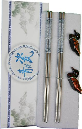 Stainless Steel Set of 2 Chopstick Pairs :: Designer Chopsticks