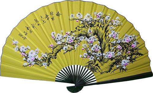 Asian Wall Fans :: Yellow Blossom Sakura with Black Bamboo