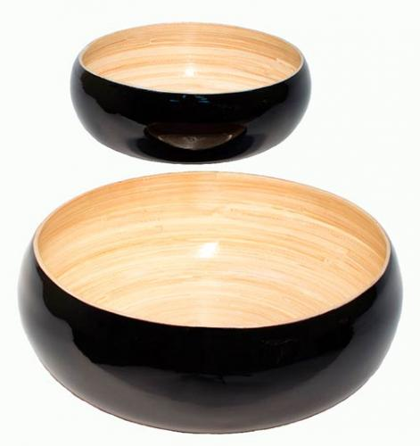 Black Lacquered Salad Bowl Set of Two :: Asian Cups and Bowls