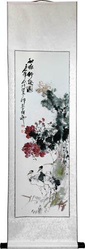 "56"" Flower Medley and Cranes :: Chinese Scroll Paintings"