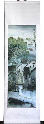 "56"" Village on the River #1 :: Chinese Scroll Paintings"