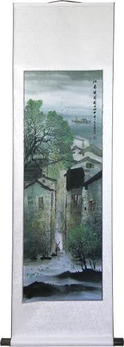 "56"" Village on the River #4 :: Chinese Scroll Paintings"
