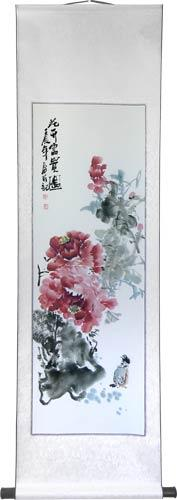 "56"" Watercolor Peony Flowers :: Chinese Scroll Paintings"