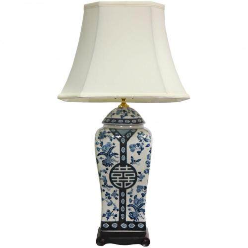 "26"" Floral Blue & White Vase Lamp :: Oriental Table Lamps"