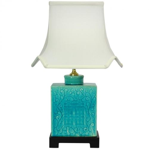 "20"" Turquoise Porcelain Lamp :: Oriental Table Lamps"
