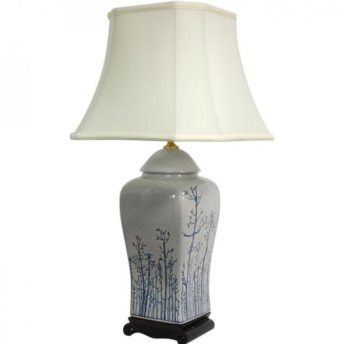 "26"" Blue & White Spring Forest Porcelain Vase Lamp :: Oriental Table Lamps"