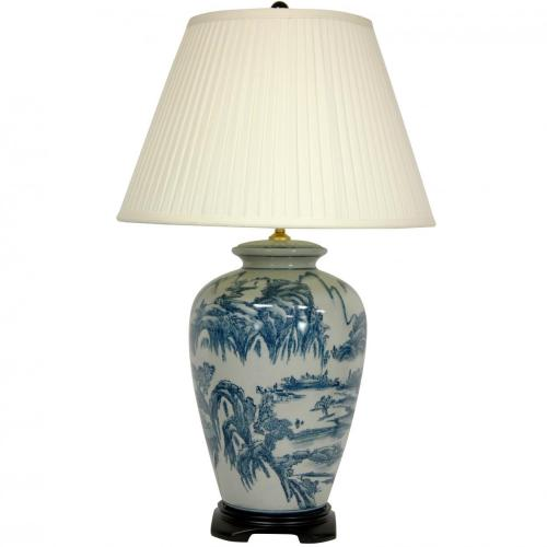 "29"" Blue and White Chinese Landscape Lamp :: Oriental Table Lamps"