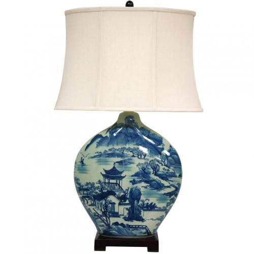 "32"" Blue and White Ming Landscape Vase Lamp :: Oriental Table Lamps"