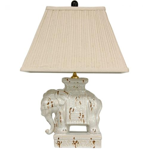 "22"" Ivory Elephant Lamp :: Oriental Table Lamps"