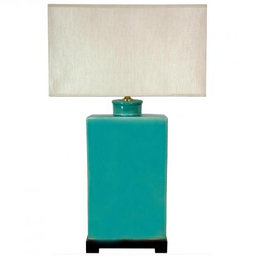 "28"" Rectangular Turquoise Lamp :: Oriental Table Lamps"