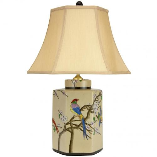 "22"" Birds and Flowers Porcelain Jar Lamp :: Oriental Table Lamps"