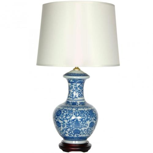 "24.5"" Blue & White Porcelain Round Vase Lamp :: Oriental Table Lamps"