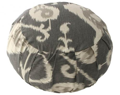 Grey Ikat Meditation Zafu Cushion :: Meditation Zafu Cushions