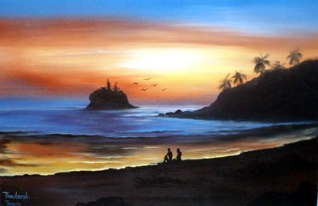 Oriental Paintings Sunset Beach