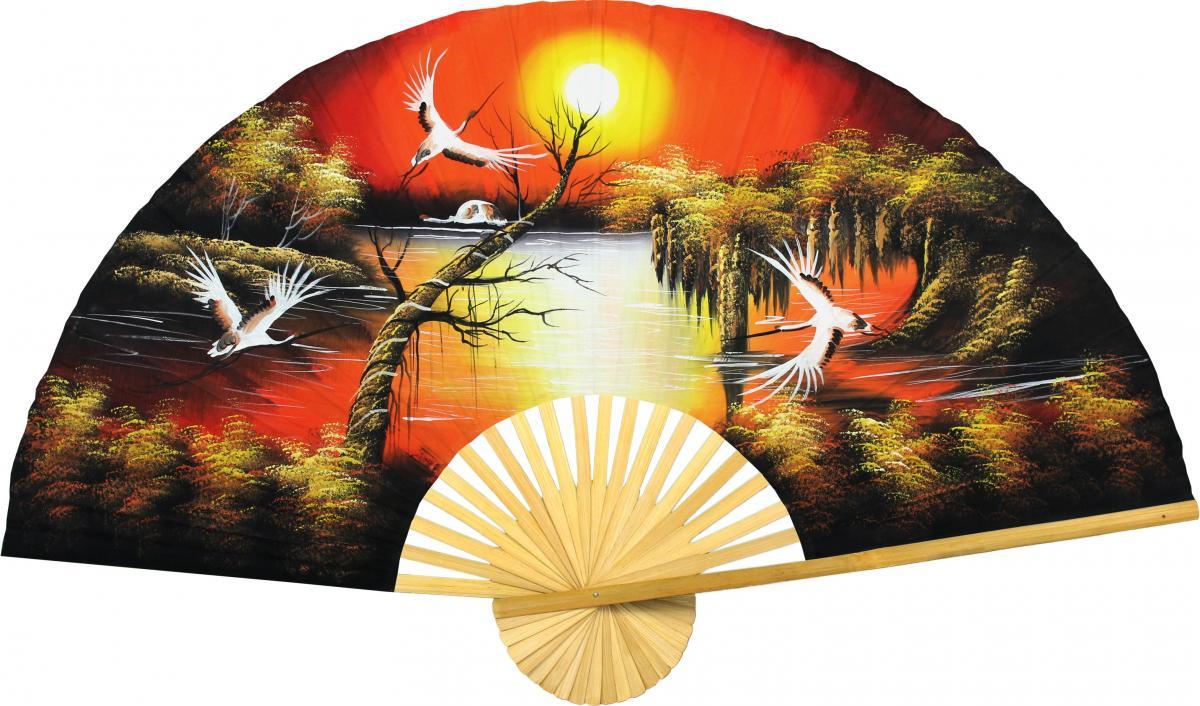 Asian Sunrise - International Wall decor - Oriental Wall Fan