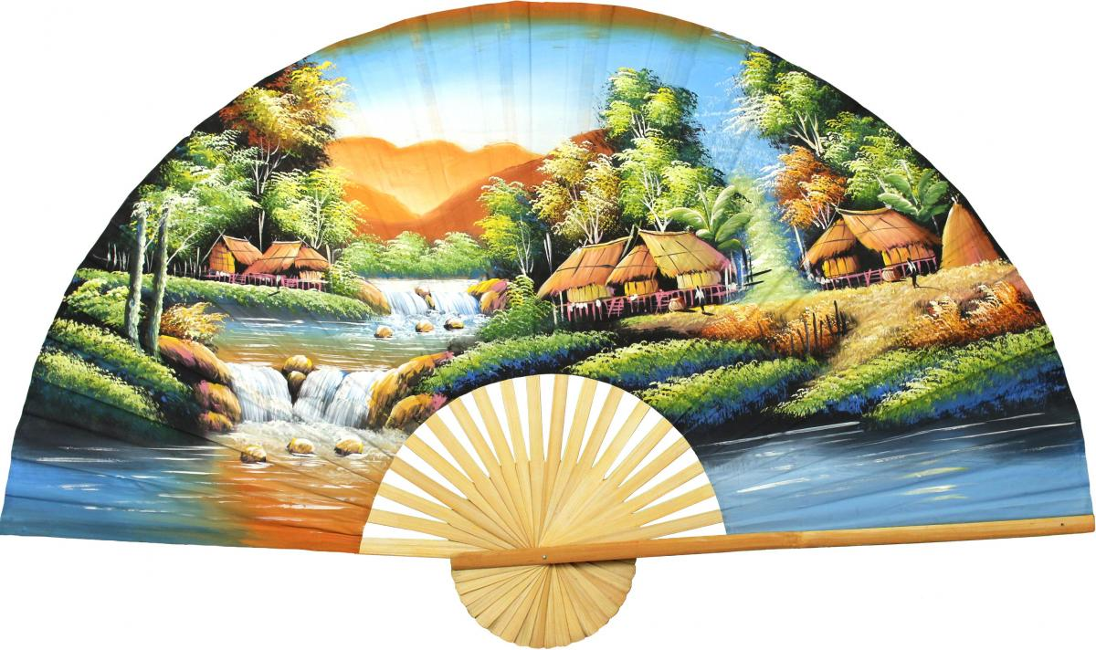 Tranquility Oriental Wall Fans - Trendy Asian Wall Decor -
