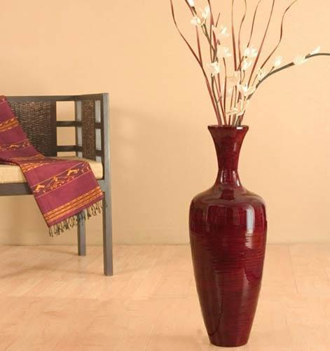 28 slender red bamboo floor vase - Decorative Floor Vases