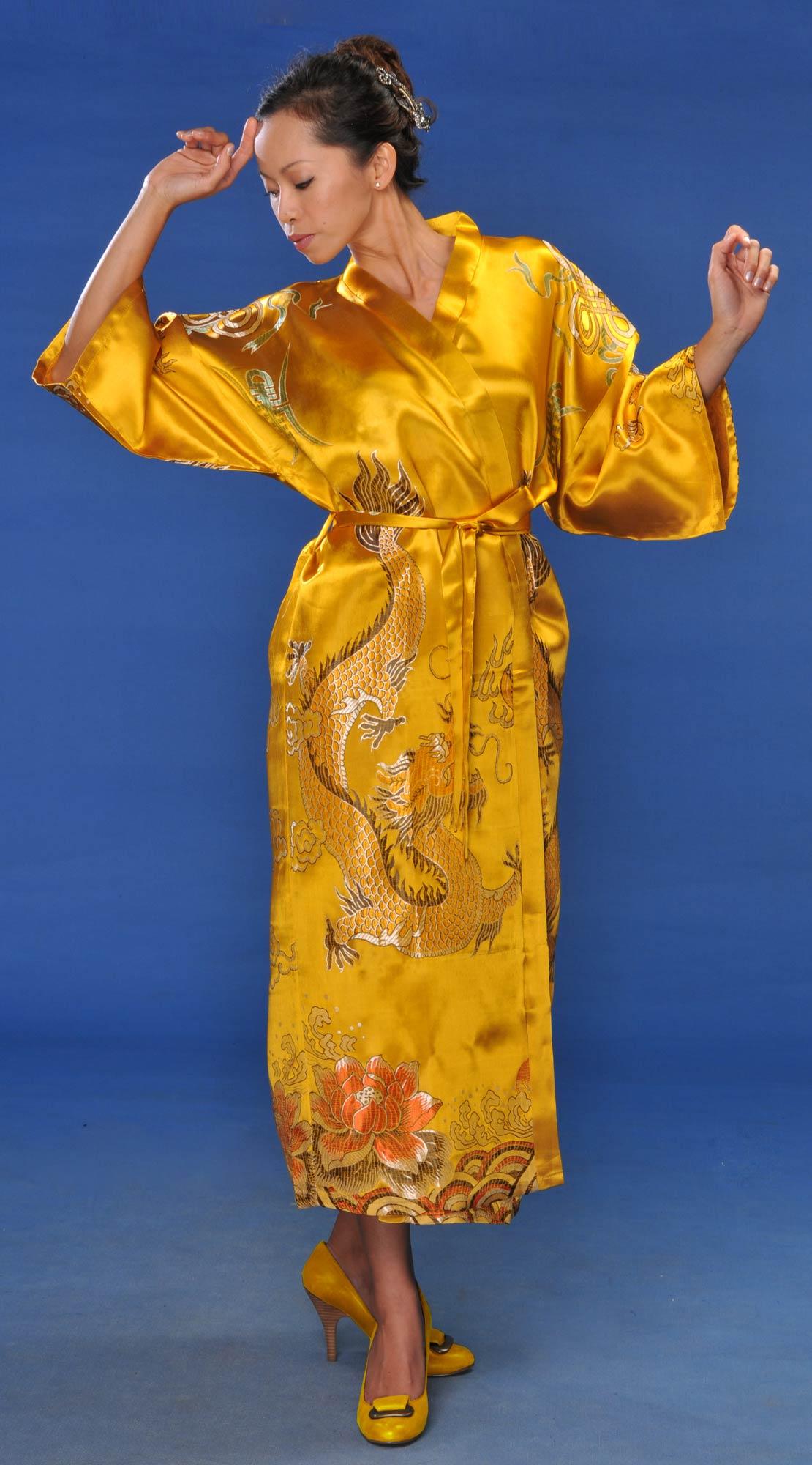 Kimono Robes :: Gold Flowing Dragon Kimono Robe