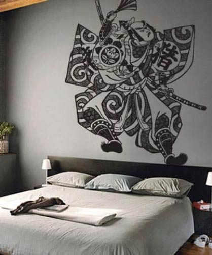 samurai fighter wall decal