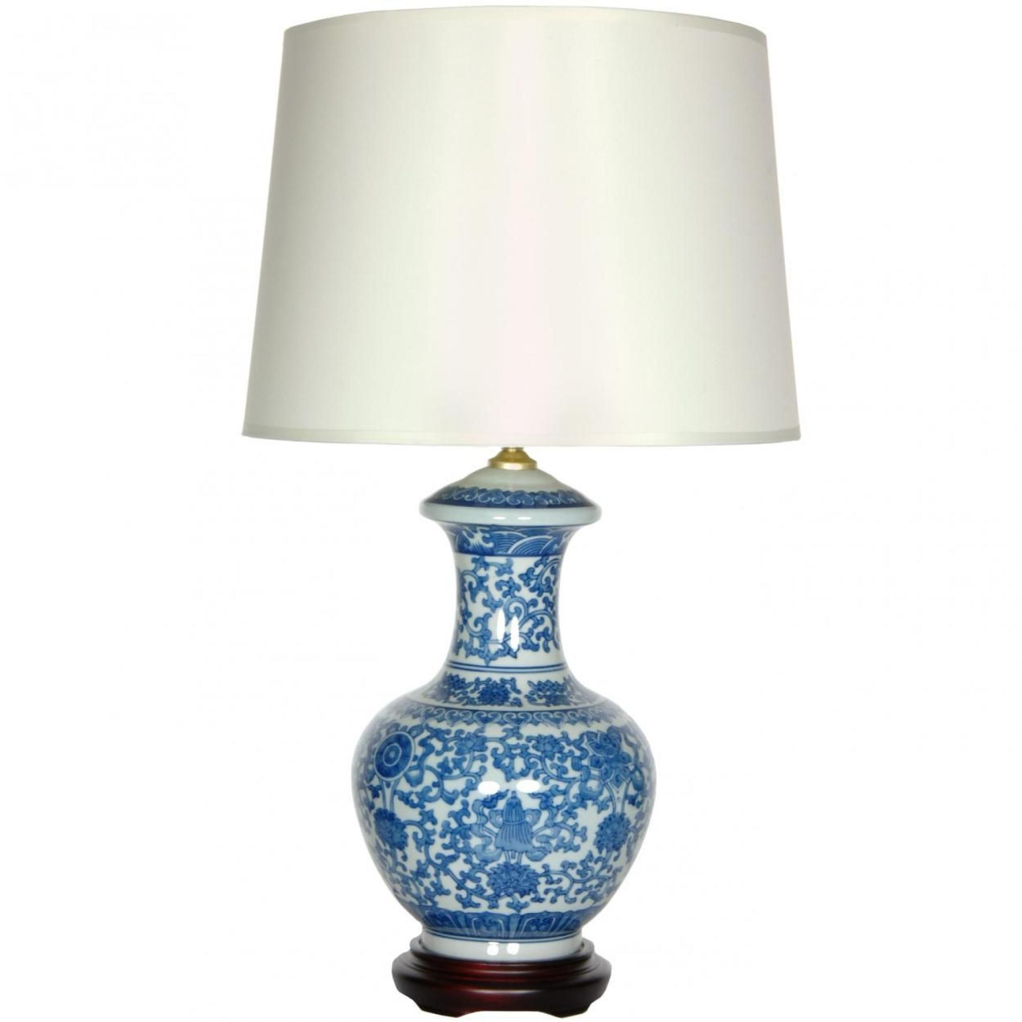 24 5 Blue White Porcelain Round Vase Lamp Oriental Table Lamps