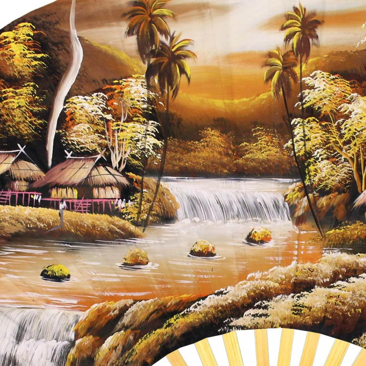 Sunset River - Oriental Wall Fans -Asian Wall Decor Trendy