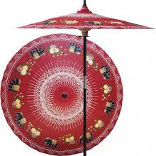 Asian Elephants (Dragon Red) :: Outdoor Patio Umbrellas