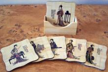 Lady Geisha Coaster Set of 6 :: Asian Cups and Bowls