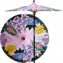 Peacock Garden (Pristine Pink) :: Outdoor Patio Umbrellas