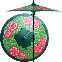 Summer Roses (Forest Green) :: Outdoor Patio Umbrellas