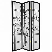 Bamboo Sunrise Japanese Shoji Screen (Black Finish) :: Bamboo Decor