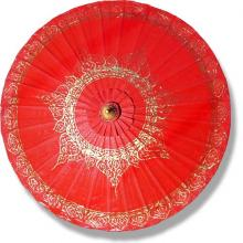 Red Traditional Thai Umbrella ::