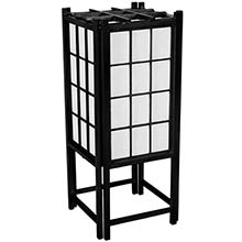 "18"" Window Pane Japanese Lamp (Black Finish) :: Japanese Lamps"