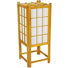 "18"" Window Pane Japanese Lamp (Honey Finish) :: Japanese Lamps"
