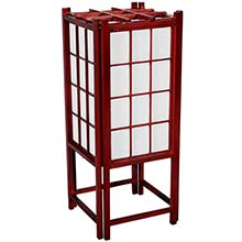 "18"" Window Pane Japanese Lamp (Rosewood Finish) :: Japanese Lamps"