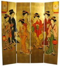 The Seven Gold Geishas :: Traditional Shoji Screens