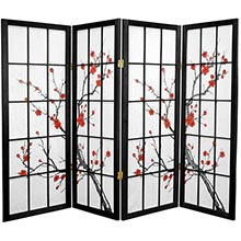 "48"" Japanese Cherry Blossom (Black Finish) :: 48"" Short Shoji Screens"