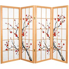 "48"" Japanese Cherry Blossom (Natural Finish) :: 48"" Short Shoji Screens"